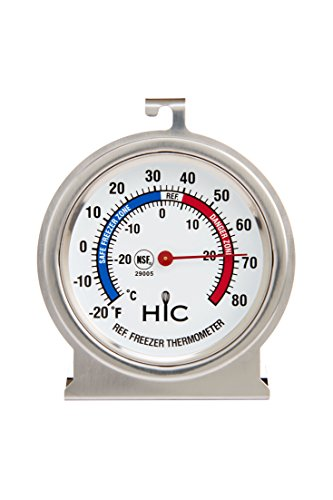 HIC Refrigerator Freezer Thermometer, Large 2.5-Inch Easy-Read Face with Safe Temperature Guide, Stainless Steel