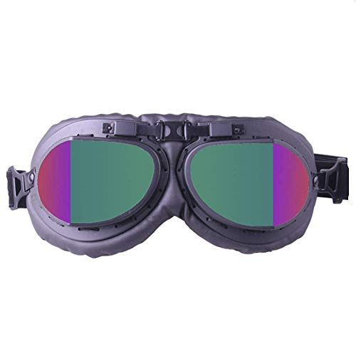 WJH Harley Motocross Goggles, Vintage Style Cruiser Aviator Goggles with Colored Lenses, for Ski Mountaineering Goggles, Scooter Goggles, for Men and ()