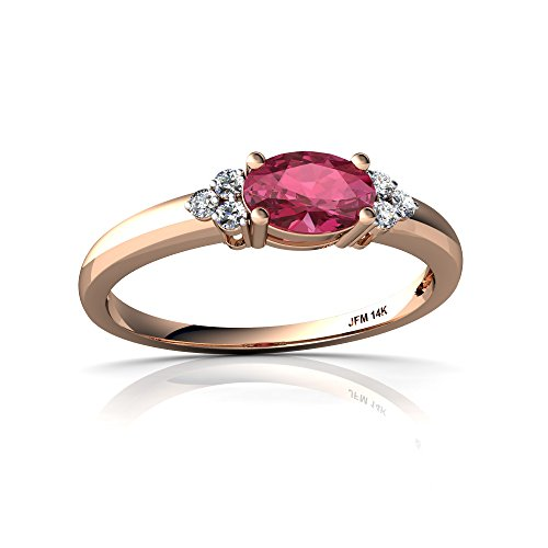 Rose Gold Tourmaline Ring (14kt Rose Gold Pink Tourmaline and Diamond 6x4mm Oval Simply Elegant Ring - Size 8)