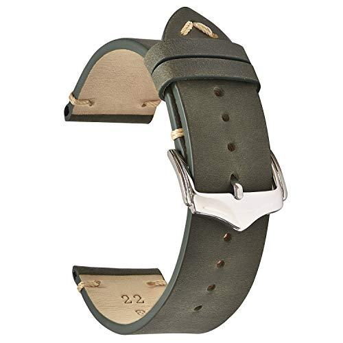 Green Leather Strap - EACHE 20mm Genuine Leather Watch Band Green Crazy Horse Leather Replacement Straps