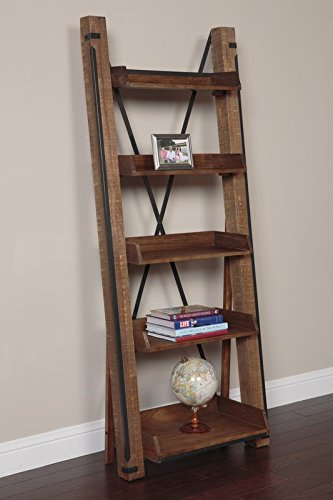 Ladder Bookcase Industrial and Modern Style Old Centureis Charm X Back Support Made of Wood And Metal in Brown Color by eCom Fortune