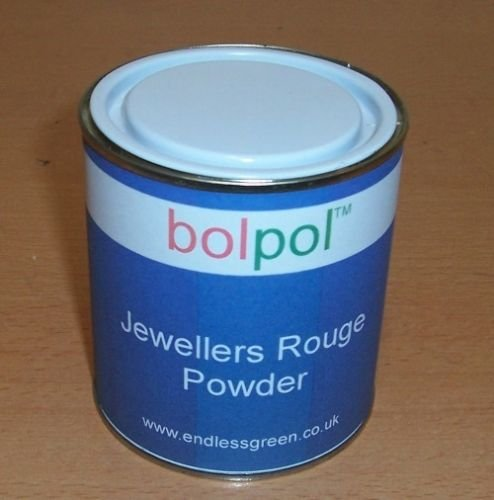 Jewellers Rouge Powder, for final polishing of Gold & Silver jewellery, also for removing minor scratches from glass. ROUGE POWDER 350g Tin Bolgers