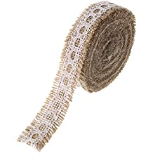 "Ling's moment Burlap Ribbon Roll with White Lace Trims for Jars & Gift Décor, 1"" x 5 Yards. 180 Inches"