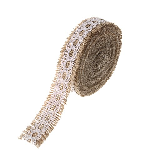 Ling's moment Burlap Ribbon Roll with White Lace Trims for Jars & Gift Décor, 1