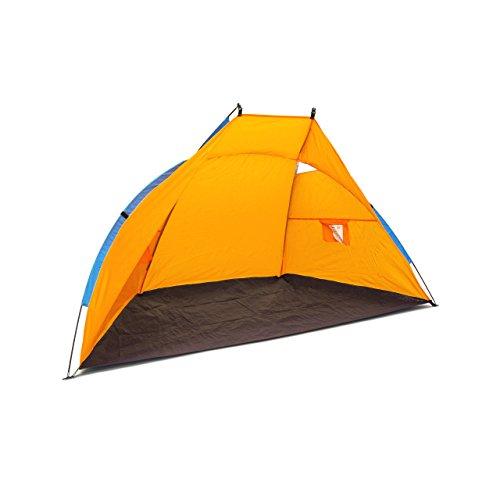 Relaxdays Transporttasche Hbt 120 X 220 X 120 cm Strandzelt Als Sonnenschutz und Sichtschutz mit UV-Schutzfaktor UV 80+ Schützt vor Wind und Sand Strandmuschel, Dunkelblau/Orange, L