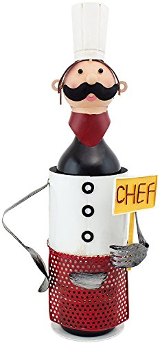 BRUBAKER Wine Bottle Holder Chef de Cuisine in Vintage Look - Hand-Painted Sculptures and Figurines Decor Wine Racks and Stands Gifts Decoration