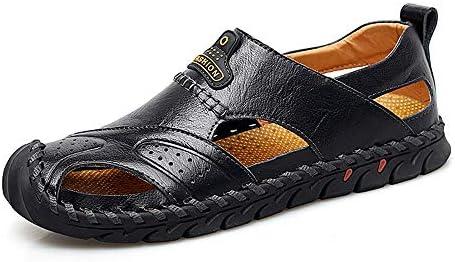 NOBRAND AVANI-MEROVIN Sandales d'été en cuir véritable véritable pour homme Style romain Couture à la main Chaussures d'eau d'extérieur souples Noir Taille 43