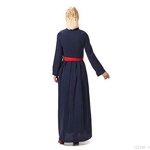 islamico da Maxi BaronHong Women's musulmano estivo Blu donna in abito lino w06W6ETq