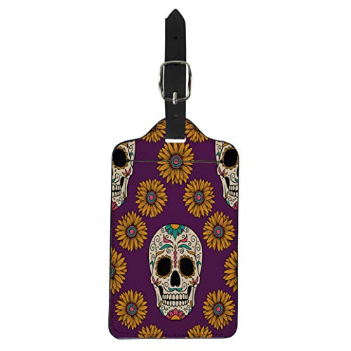 Pinbeam Luggage Tag Yellow Sugar Mexican Skulls Day Dead Flower Man Suitcase Baggage -