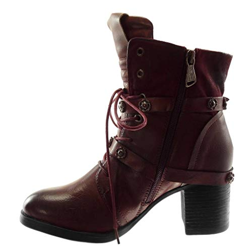 d470223abe4f8 ... cm Angkorly Shoes Ankle Material Booty Studded high Laces Boots Wine Boots  Combat . ...