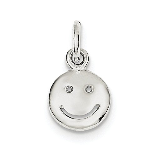 Sterling Silver Happy Face Charm (0.6IN long x 0.5IN wide) by Jewelry Pot (Image #3)