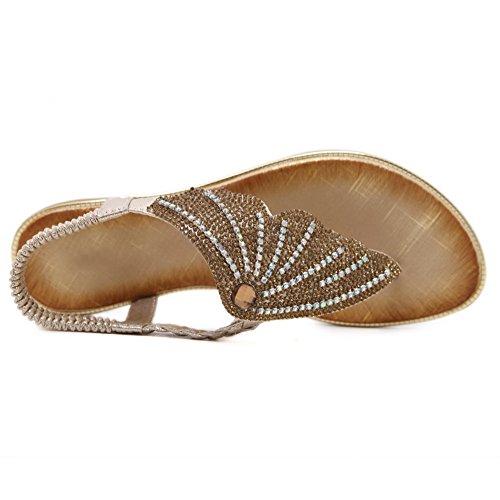 Femme AgooLar Talon Élastique GMBLA013371 Sandales Unie à Couleur Doré Bas Divisé dxwrBtqU7x