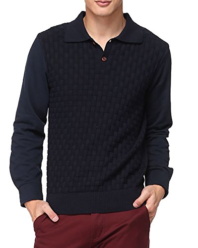 Generic Men's Daily Short-style Long-sleeves Blouse S Blue by Generic