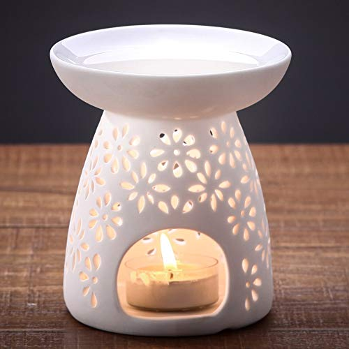 NJCharms Ceramic Tealight Holder Essential Oil Burner Aromatherapy Wax Candle Tart Burner Warmer Diffuser Aroma Candle Warmers Porcelain Decoration for Parlor Bedroom Carved Petal Shape White