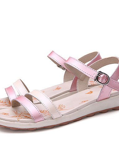 ShangYi Women's Shoes Leather Flat Heel Gladiator Sandals Office & Career/Casual Blue/Pink/White pink BaVS0G