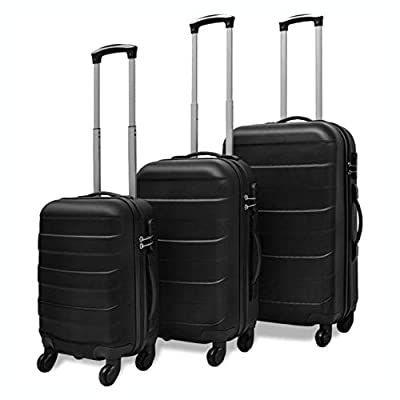 K&A Company Suitcases, 3 Piece Hardcase Trolley Set Black