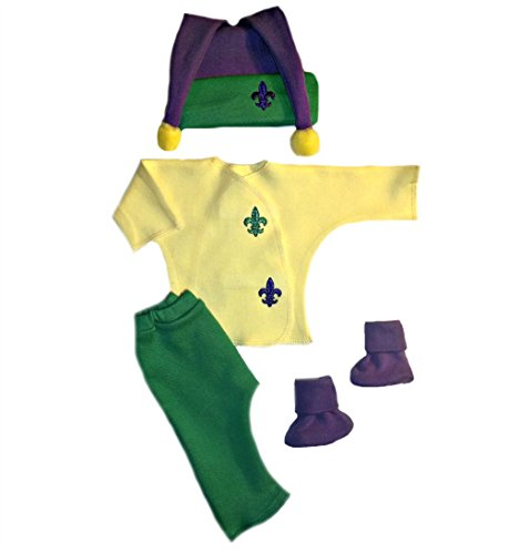 Jacqui's Unisex Baby Mardi Gras Clothing Set, 0-3