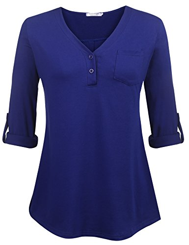Sweetnight Mother's Day Gifts, Women's V-Neck Blouse 3/4 Roll-Up Sleeve Button Down Shirt Loose Fit Casual Shirred Tunic Tops Plus Size S-XXXL (Navy Blue, - Shirred Tunic Cotton