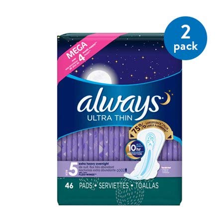 Always Ultra Thin Size 5 Extra Heavy Overnight Pads with Wings, unscented, 2 Packs of 46 (92 Ct)