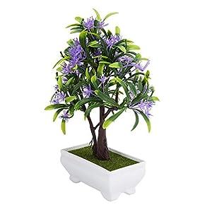 GLOGLOW Artificial Bonsai Flower Pot Fake Silk Flower Tree Plant for Wedding Holiday Home Decor 8