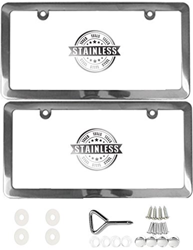 APSG License Plate Frame | Stainless Steel | Premium Slim Style | (2 Holes, Polished Mirror Finish) Set: Front + Rear (2000 Expedition Chrome Parts)