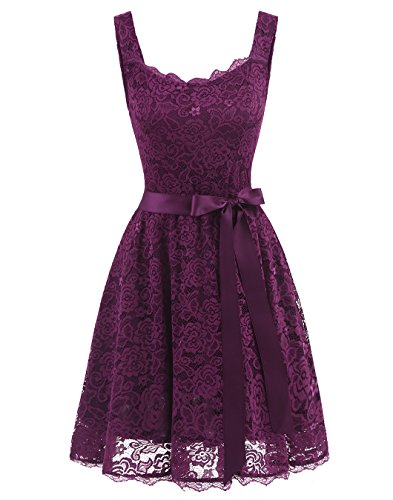 Wholesale BeryLove Women's Floral Lace Bridesmaid Dress with Pockets Short Prom Dress Belt free shipping