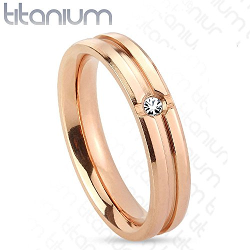 Solid Titanium Rose Gold IP Band Ring with Centered Grooved Design and Inlaid with Clear Cz Stone, Ring Width of (Grooved Ring Design)