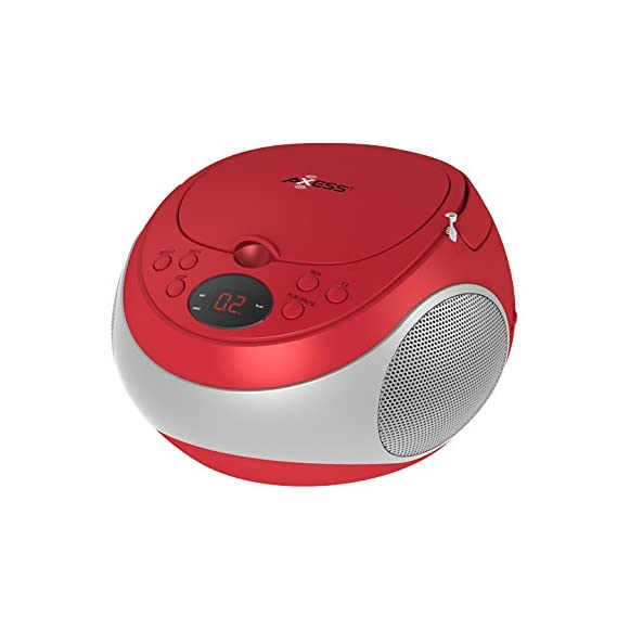 Axess PB2710RD Portable Stereo CD/CDR/CDRW Player with AM/FM Stereo Radio, LED Display and Headphone Jack, AC power and