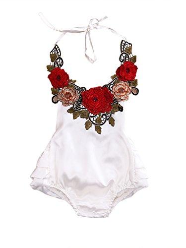 Mrs.Baker'Home Baby Girl 3D Flower Applique Halter Floral Romper,Backless Bodysuit,Ruffle Sunsuit (0-6 M, White 2)