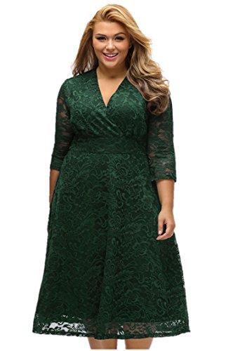 Elegant Women's Luxurious Lace Sexy V-neck High-waisted A-line Womens Dresses for Women Plus Size (Plus Size Fairy Dress)