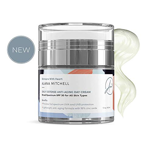 Anti-Aging Day Cream Sunscreen Moisturizer with Alpha Lipoic Acid and Zinc Oxide SPF 30 By Alana Mitchell Daily Defense 1.7oz FDA Approved Physical Protectant With Sheer Finish For All Skin Types