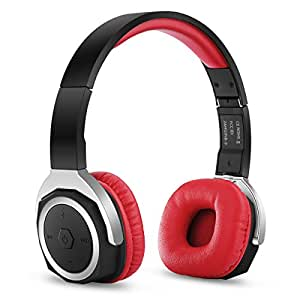 Zinsoko NB-6 Bluetooth V4.1 On Ear Headphones with Mic, Sports APP, NFC Support, Hi-Fi Stereo, Wireless and Wired Dual Mode, over 60 Hours Music Time (Red)