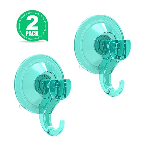 LUXEAR Shower Suction Cup Hooks Kitchen Wall Towel Hook Vacuum Power Lock Plastic Suction Cups Hanger Hooks for Bathroom Office Car Loofah Sponge Coat Key Caps - 2 Pack, Lightseagreen