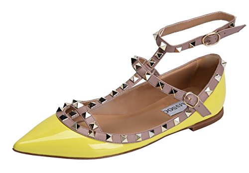 Pumps Metal Womens - CAMSSOO Women's Metal Studs Strappy Buckle Pointy Toe Flats Comfortable Dress Pumps Shoes Yellow Patant PU Size US6 EU37