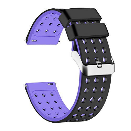 Mens Watch Black Band - Lwsengme Silicone Quick Release - Choose Color & Width (18mm, 20mm,22mm) - Soft Rubber Watch Bands (Black/Purple, 20mm)
