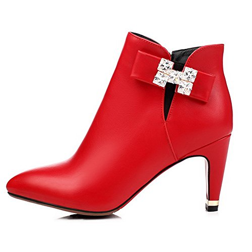 AllhqFashion Mujeres Tacón embudo Sólido Cremalleras Tobillo Botas con Diamante Rojo