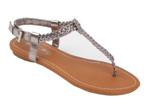 Women's T Strap Braided Sandals Shoes (6, Silver 2221)
