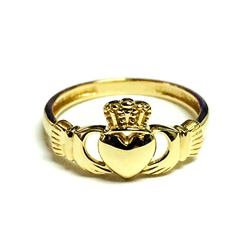 14k Yellow Gold Claddagh Ring, Size 6