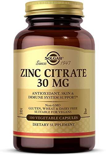 Solgar Zinc Citrate 30 mg Vegetable Capsules – Pack of 100