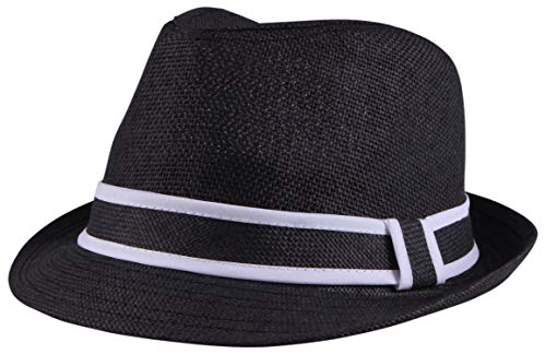 Enimay Unisex Vintage Fedora Hat Classic Timeless Light Weight 2120 - Black Size L/XL