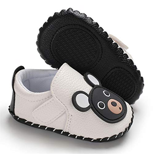 BEBARFER Baby Boys Girls Shoes Cartoon Crawling Slippers Soft Moccasins Toddler Infant Crib Pre-Walkers First Walkers Shoes Sneakers (0-6 Months M US Infant, D-White Bear) ()