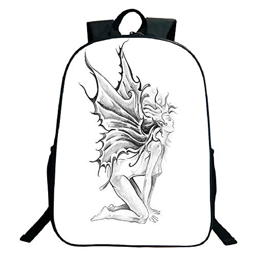 (Pictures Print Design Black Monolayer Rucksack,Tattoo Decor,Artistic Pencil Drawing Art Print Nude Fairy Opening its Angel Wings,Black and White,for Kids,Comfortable Design.15.7