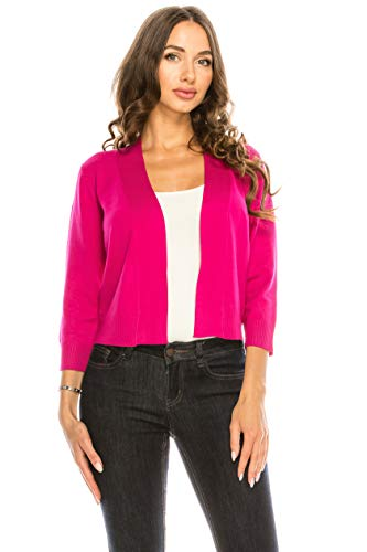 Sixth Avenue Women's Basic 3/4 Sleeve Open Front Cropped Bolero Cardigan (S-XL) HP XL Hot Pink
