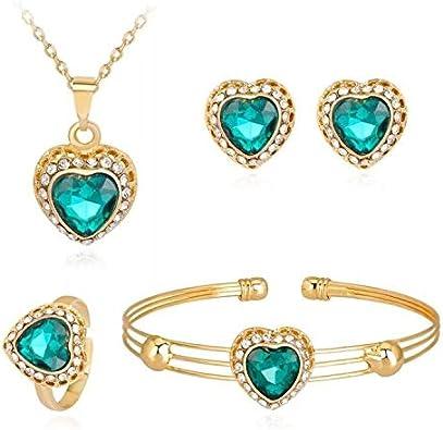 Juego de joyas de piedras preciosas para mujer, exquisito love multicolor, pendientes, pulseras y collar