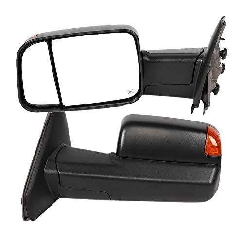 2Pcs Auto Exterior Mirrors Power Heated LED Turn Signal Rearview Auto Exterior Mirrors Fit for Dodge Ram 1500/2500/3500 2002 2003 2004 2005 2006 2007 – CH1320228 CH1321228