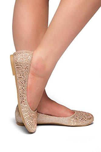 Herstyle Mujeres Vicky Punta Redonda Adornos Enjoyados Rhinestone Zapatos De Ballet Pisos Oro Rosa