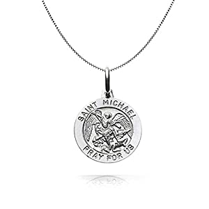 Bling Jewelry Sterling Silver Saint Michael Medal Round Pendant 18in Necklace