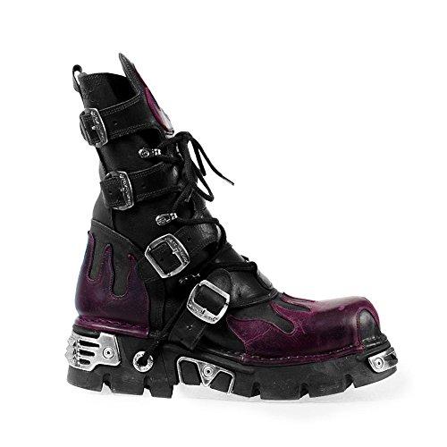 New Rock Bottes Style 591 Bottes (Noir/Violet) -