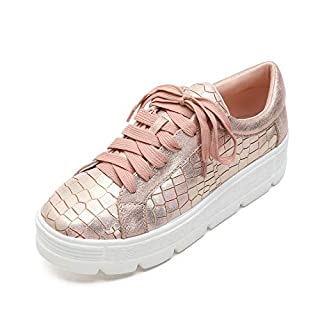 MACKIN J 334-2 Women's Platform Fashion Sneakers Lace Up Lightweight Casual Low Top Shoes 8 Rose Gold