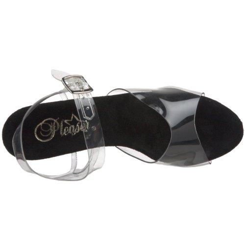 Pleaser Compensées 208 Femme transparent noir Sandales Brillant Transparent Kiss ntrWxv4t